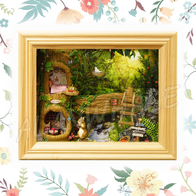 Miniature Doll House Squirrel Forest Stereoscopic Frame Nuts DIY Dollhouse Furnitures Crafts Teenager Toys Model Building Kits