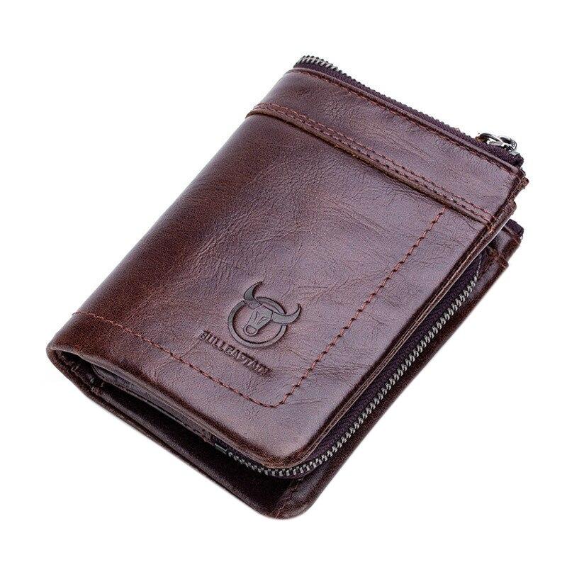 Bullcaptain carteira masculina de couro genuíno curto