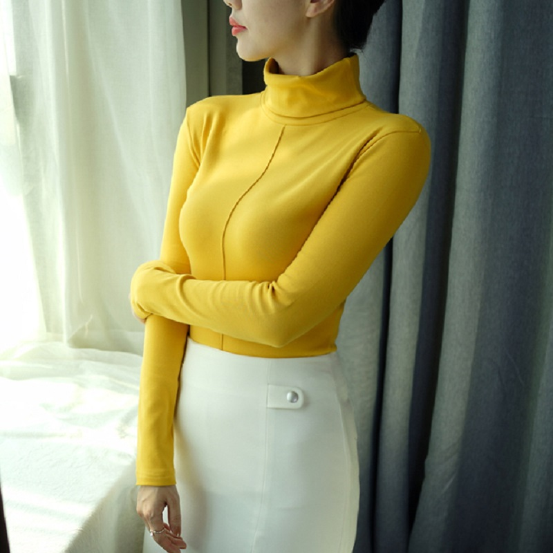 Turtleneck Sweater Pull Long-Sleeve Winter Korean Femme Women Female Cotton