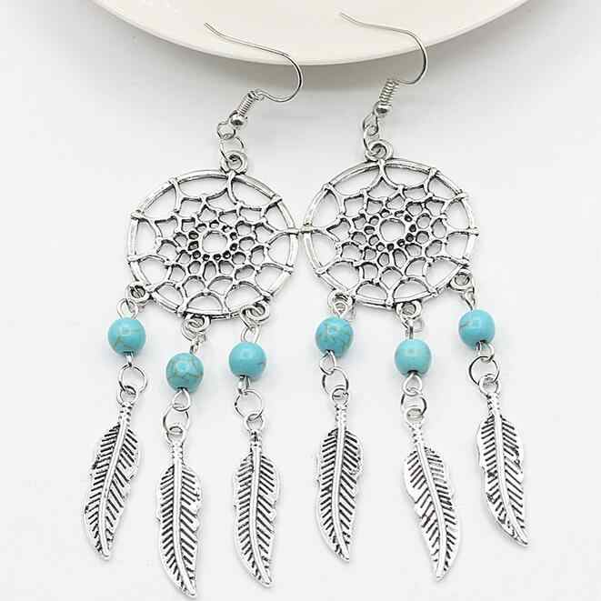 New bohemian style dream catcher net feather earrings  CED92