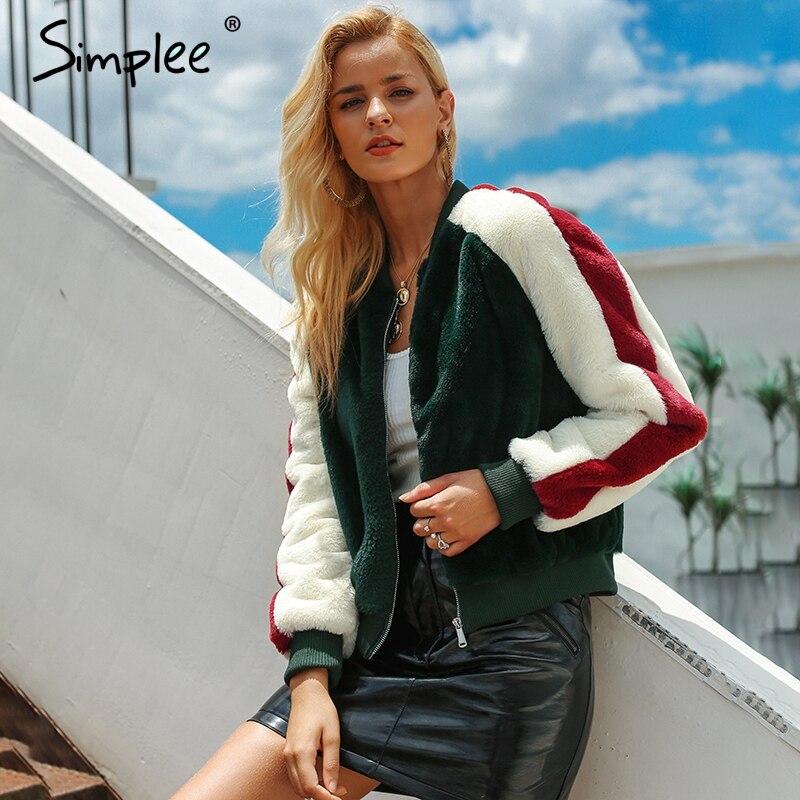 Simplee Peludo da pele do falso casacos mulheres curto Zipper up bomber jacket casual brasão Outono mulheres outwear casaco de inverno de pele falsa