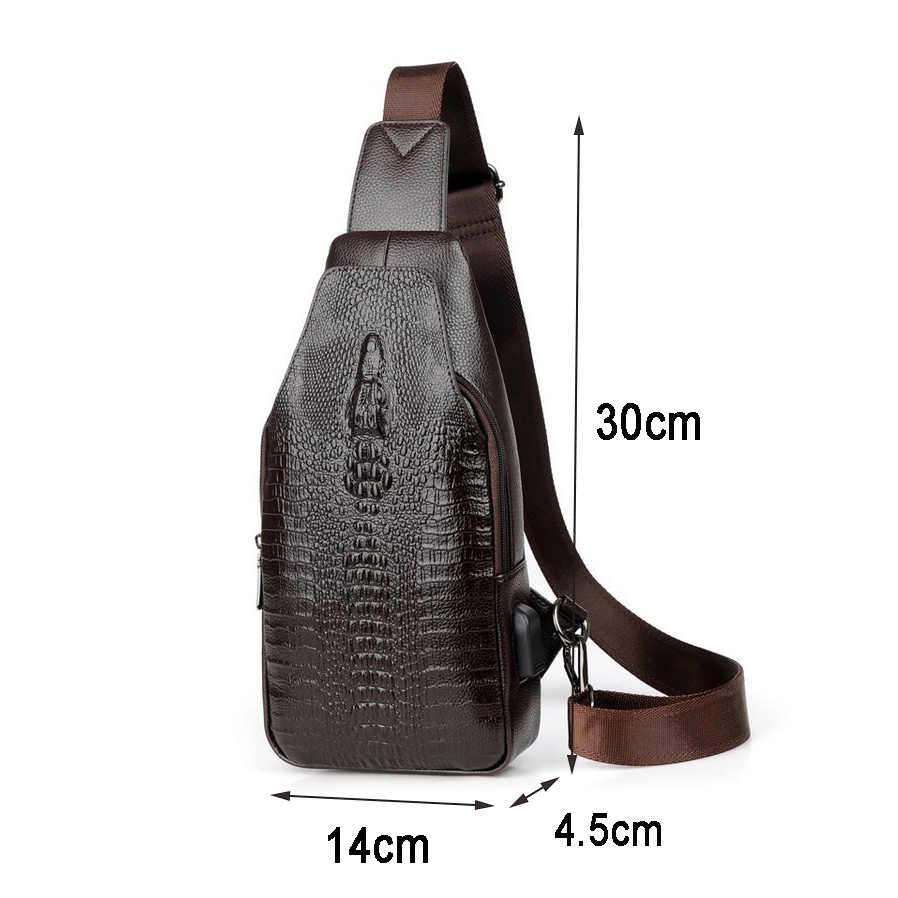 3089f196e73d ... Новая модная мужская сумка-мессенджер из кожи с USB зарядкой  повседневная мужская дорожная сумка через ...