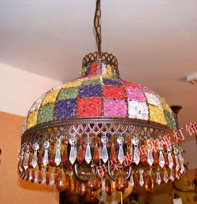 Bohemia multicolour 3 american pendant light entrance lights study light bedroom lamp pendant lamp BXY10 quoizel tfbl2818 belle 3 light pendant