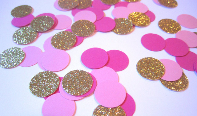 Pink and Gold Glitter Confetti Wedding Confetti Circular Confetti For Party  Wedding Table Decoration Pink and Gold Baby Showers 60ee26e12702