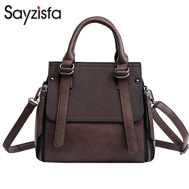 цена на Sayzisfa New 2018 Spring tide bucket bag Women fashion frosted Leather handbags Korean shoulder bag Ladies Messenger bags T563