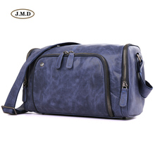 J.M.D Genuine Leather Special Blue Mens Fashion Design Business Travel Bag Computer Shoulder Handbag 1020K