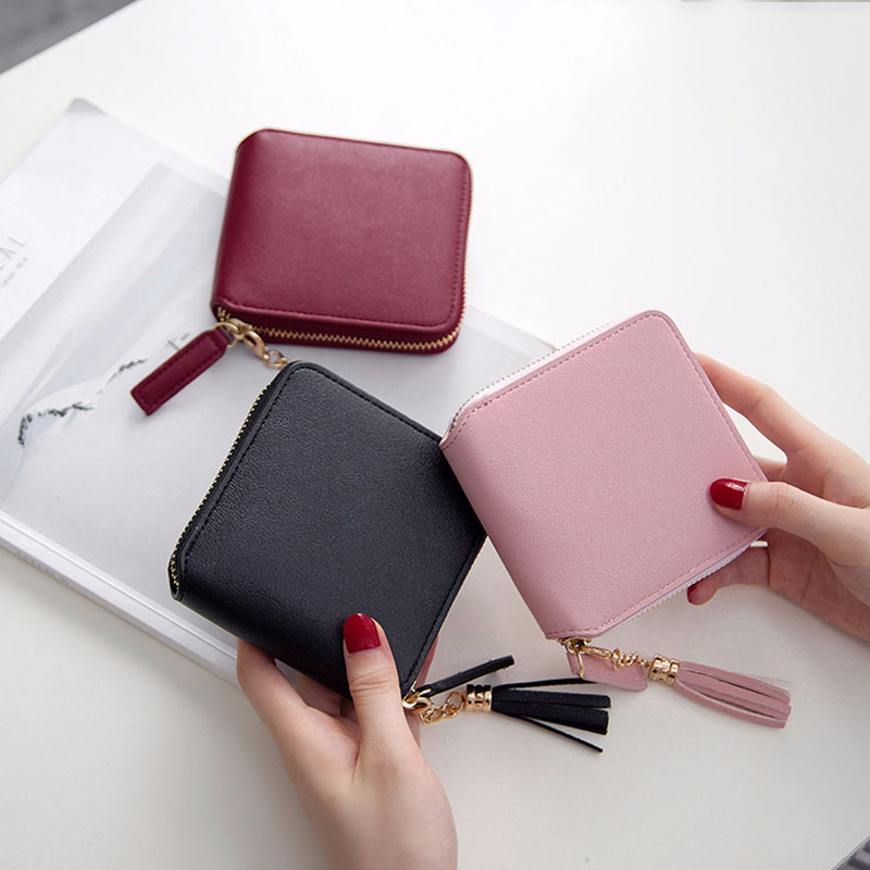 Hot Luxury Leather Wallet Women Cute Tassel Ladies Purse Card Holders Women Wallets Zipper Money Pocket Female Clutch Bag W063