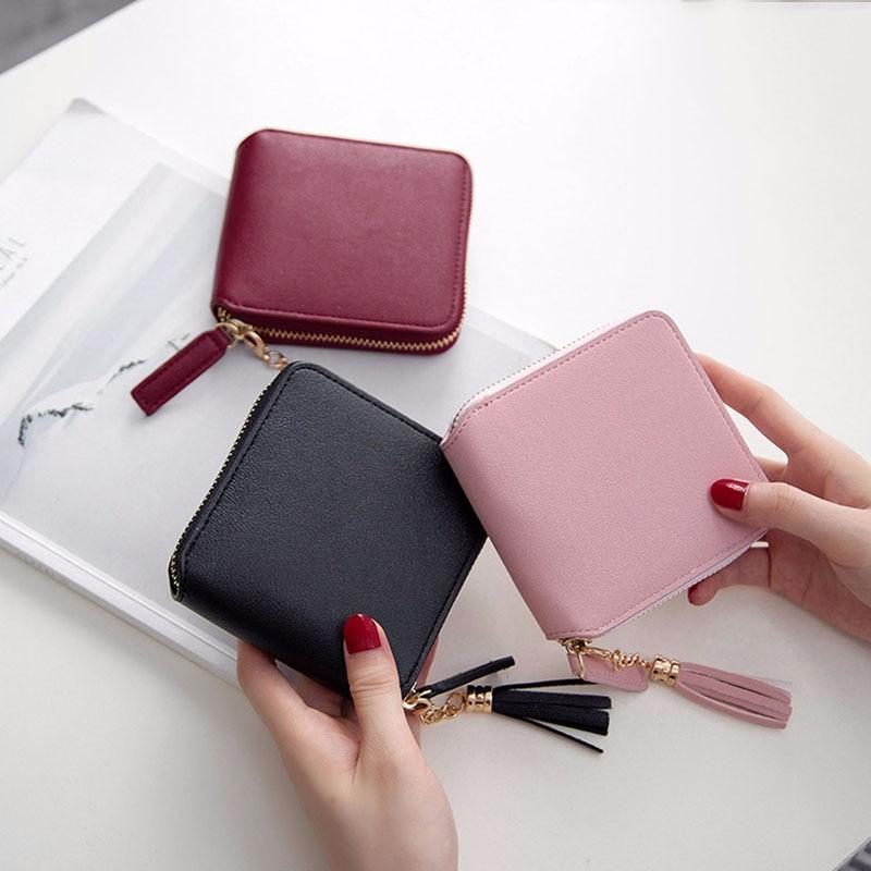 Hot Luxury Leather Wallet Women Cute Tassel Ladies Purse Card Holders Women Wallets Zipper Money Pocket Female Clutch Bag W063