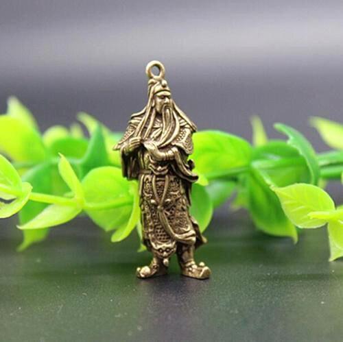(mini) Delicate Chinesische Alte-stil Messing Geschnitzt Guan Gong Statue Auspicious Anhänger Ein GefüHl Der Leichtigkeit Und Energie Erzeugen