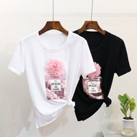 Spring And Summer 2018 New Fashion TShirt Girls Student Heavy Sparkle Perfume Bottle Short Sleeved T
