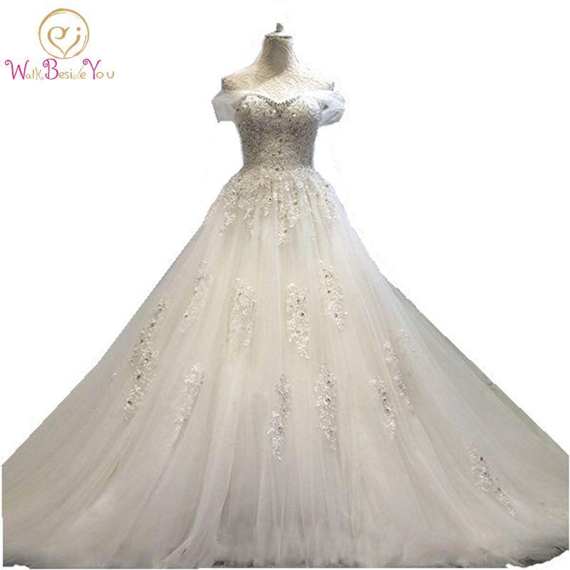 100% äkta foto på bröllopsklänningen Lace pärlstav brudklänningar med tåg 2017 lager billiga bröllopsklänningar