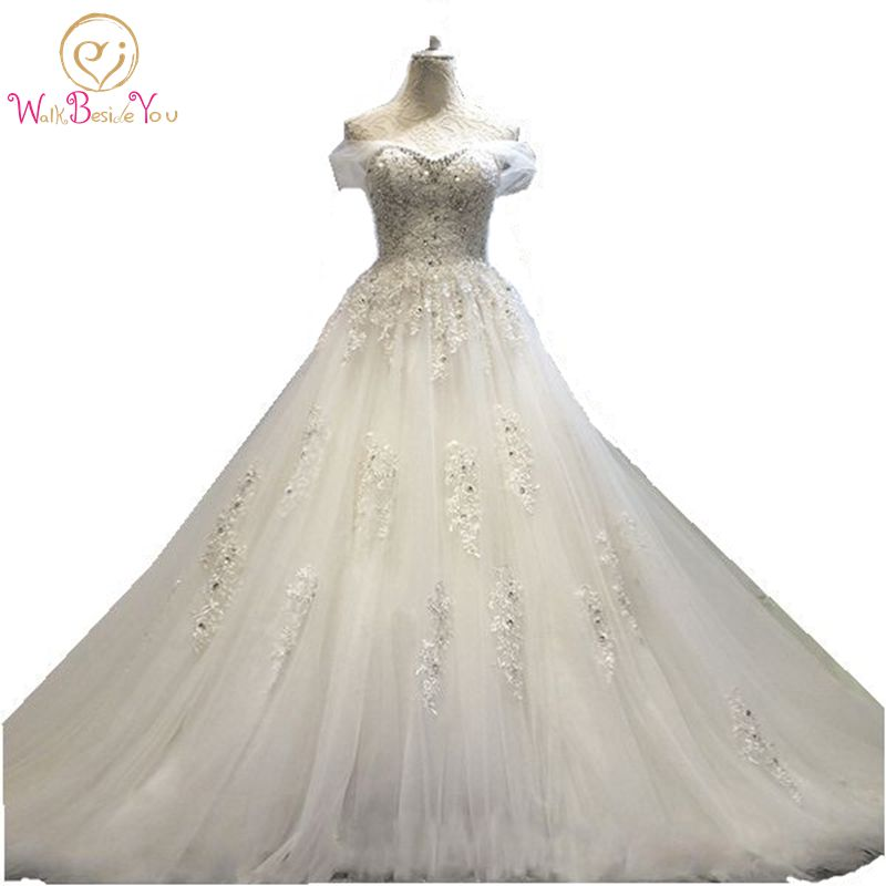 100% Real Photo vestido de noiva princesa Wedding Dress Lace Beaded  Bridal Gowns with Train 2019 Stock Cheap Wedding Dresses