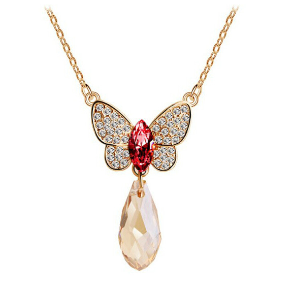 Summer Style Bohemian Beautiful Butterfly Crystal Gold Pendant