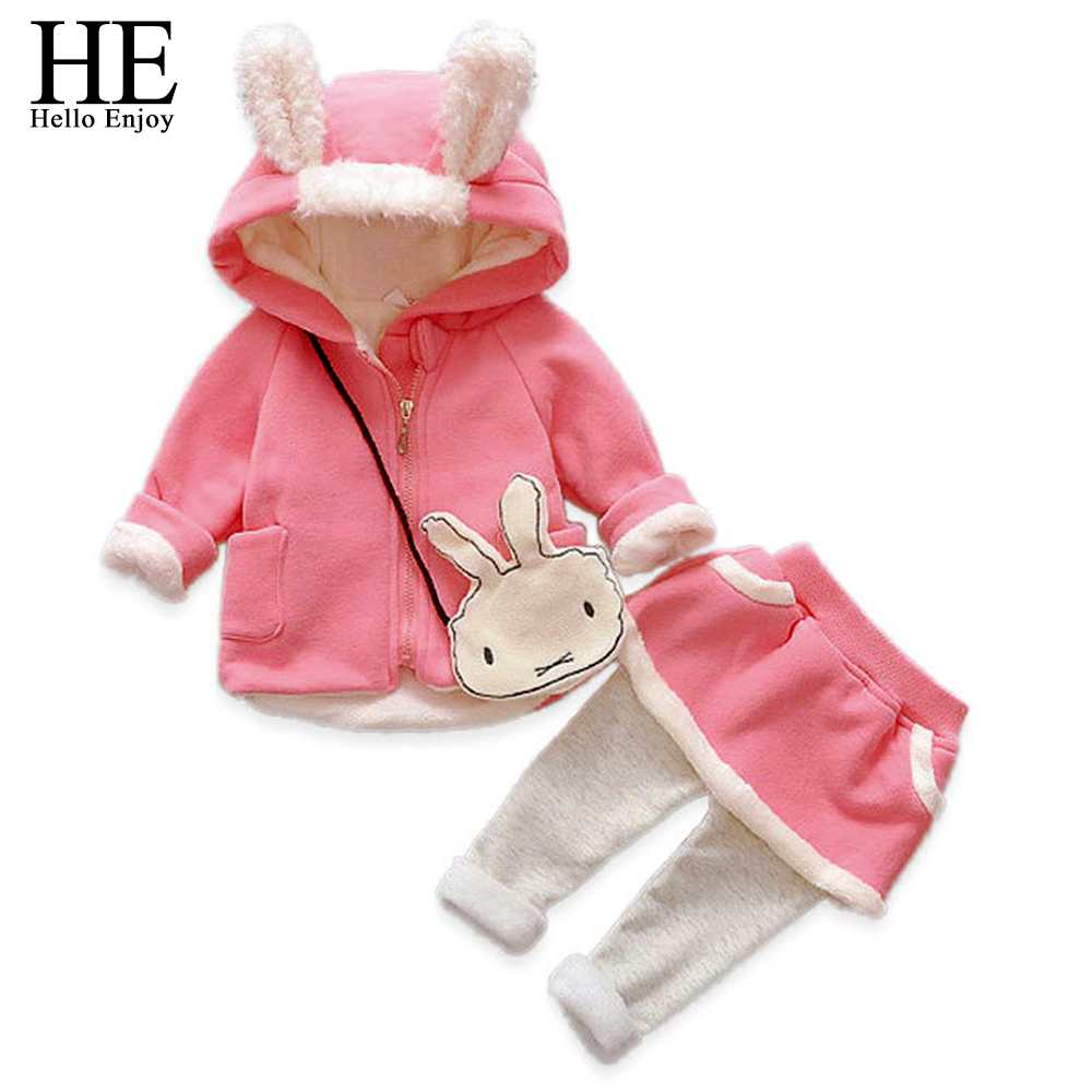 HE Hello Enjoy baby girl clothes sets autumn winter long-sleeved cartoon thick warm jacket + skirt pants 2pcs suit baby clothing he hello enjoy baby girl clothes sets autumn winter long sleeved cartoon thick warm jacket skirt pants 2pcs suit baby clothing