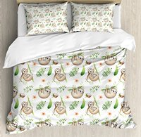 Sloth Duvet Cover Set Queen Size Baby Sloth and Mother Soft Colored Flowers Coconut Tree Leaves Happy Famil