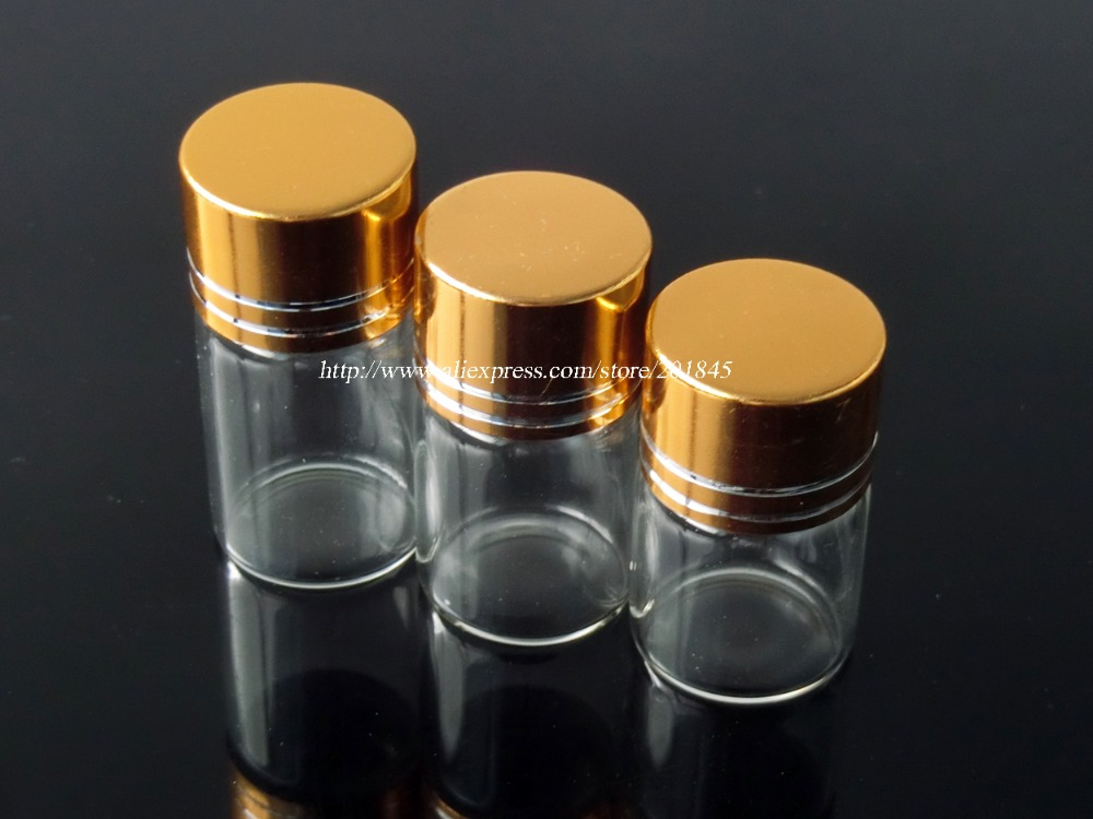 Wholesale 100 Pcs Glass Bottles Aluminium Screw Golden Cap Empty Transparent Clear Liquid Gift Container Wishing Bottle Jars 100 pcs lot of small glass vials with cork tops 1 ml tiny bottles little empty jars