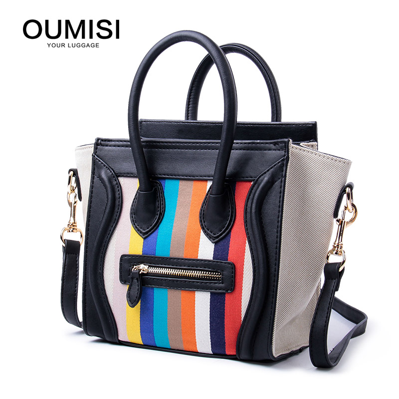 OUMISI Handbag Retro Bag PU Leather Brand Tote Bag Flap Closure Fashion Metal Lock Luxurious Handbag Purse Women CT metal ring pu leather tote bag