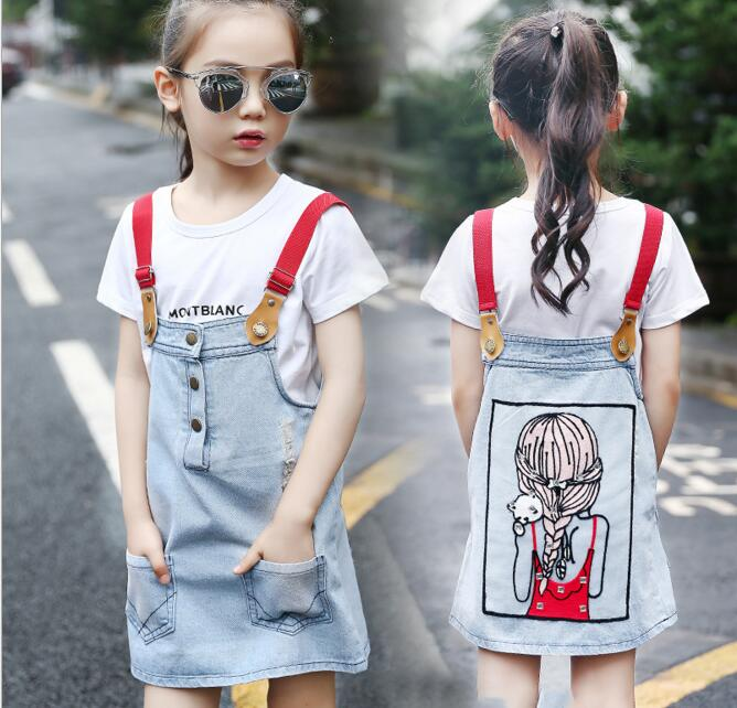 Girls Dress Sets Children Letter Printed T-shirt + Cartoon Printed Dress 2PCS Dress Sets Kids Casual Strap Dress Sets college basketball jersey wildcats 23 100% college basketball jerseys