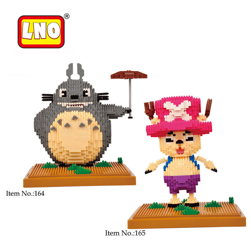 LNO Toys Large Totoro One Piece Tonny Scenes Figures Kids Building Bricks Japanese Anime Cartoon Model Nanoblock Christmas Gifts