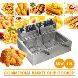 220V 5000W 12L Commercial Double Oil Cylinder Electric Deep Fryer French Fries Frying Machine Oven Hot Pot Fried Chicken Grill