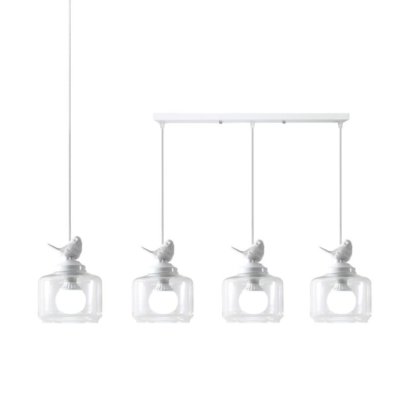 Nordic restaurant bar creative children's room balcony porch staircase single head glass bird chandelier