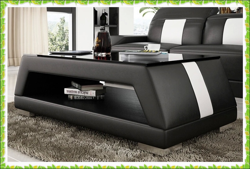Luuxy black leather coffee table mixed color genuine leather sofa table hot selling in coffee Black leather coffee table