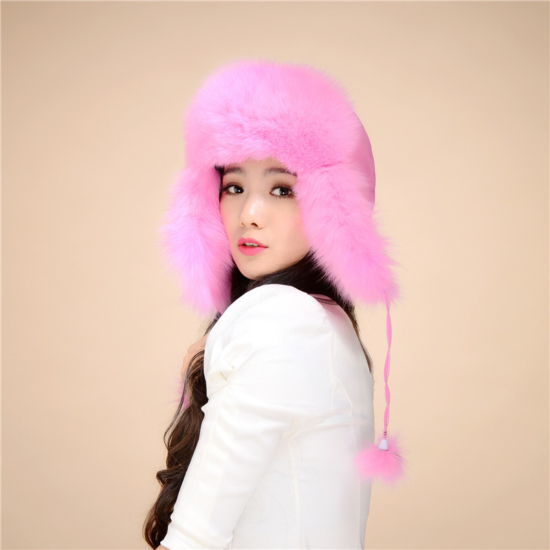ФОТО Women's Winter beanies With pompon Women Customized Knitted Ball Headgear fur Hat For Women Casual Female Fox fur caps#H9033