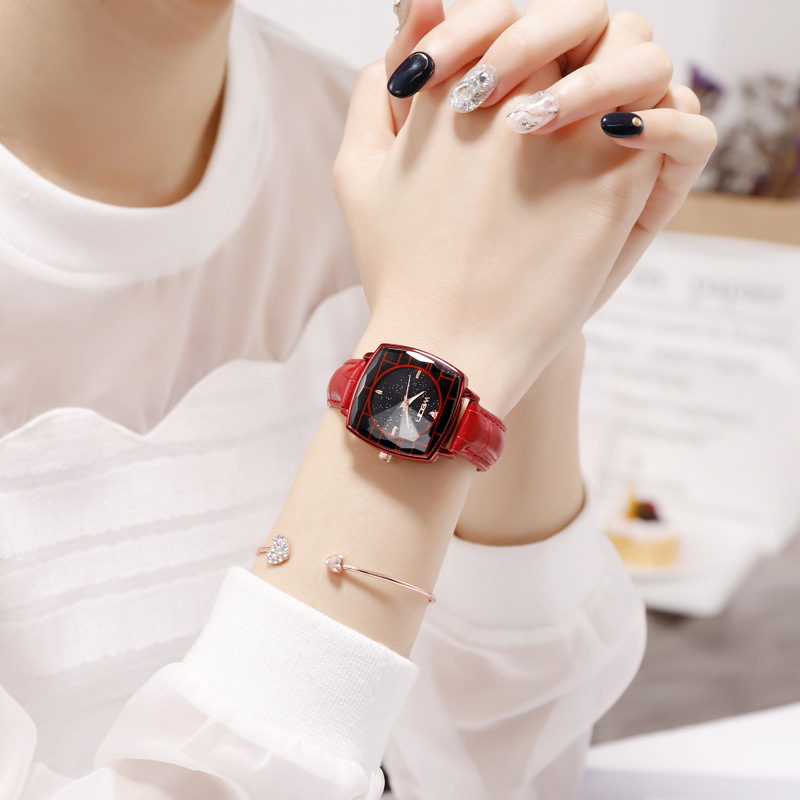 Square Ladies Wrist Watches Starry Sky Female Clock Leather Quartz Watch Elegant Women Watches Bracelet Watch Montre Femme 2018 (3)