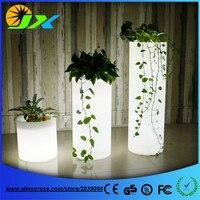 Большой Пластик LED цветок Пол Пот Свет Цвет изменения световой ваза для сада Гостиная Спальня Обеденная горшки цилиндра