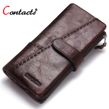 Contact's Brand Long Men Wallet Genuine Leather Wallet Man Coin Purse Male Clutch Bag Credit Card Holder Money Bag Phone Pocket game tom clancy s the division color printing men long wallet pu leather money coin purse male pocket card holder passport case