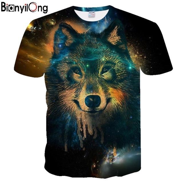 2018 nueva camiseta hombres verano marca de gran tamaño 3D cabeza del lobo  imprimir Camiseta Hombre 83f09470ca137
