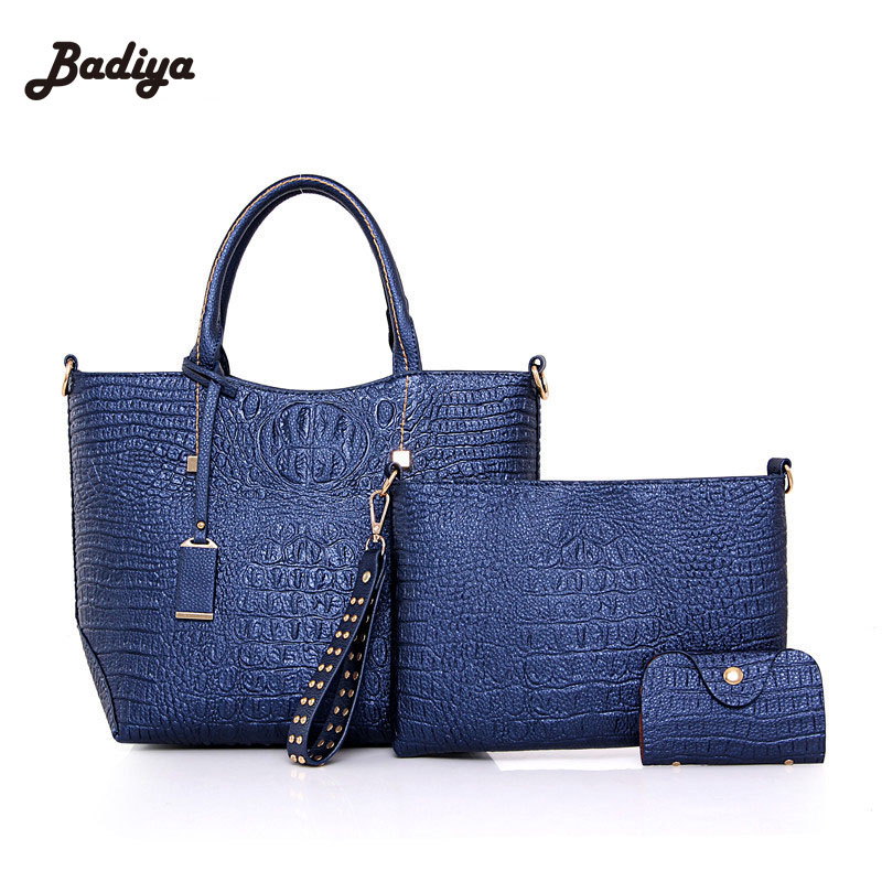 ФОТО 3 Pieces In One Ladies Clutch Wallets Elegant Alligator Womens Composite Bags Fashion Large Capacity Shoulder Bag