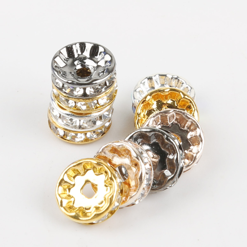 Beads & Jewelry Making Jewelry & Accessories Clever 4 6 8 10mm Metal Gold Rose Silver Black Crystal Rhinestone Rondelle Spacer Loose Beads For Diy Jewelry Making Accessories 50pcs Professional Design