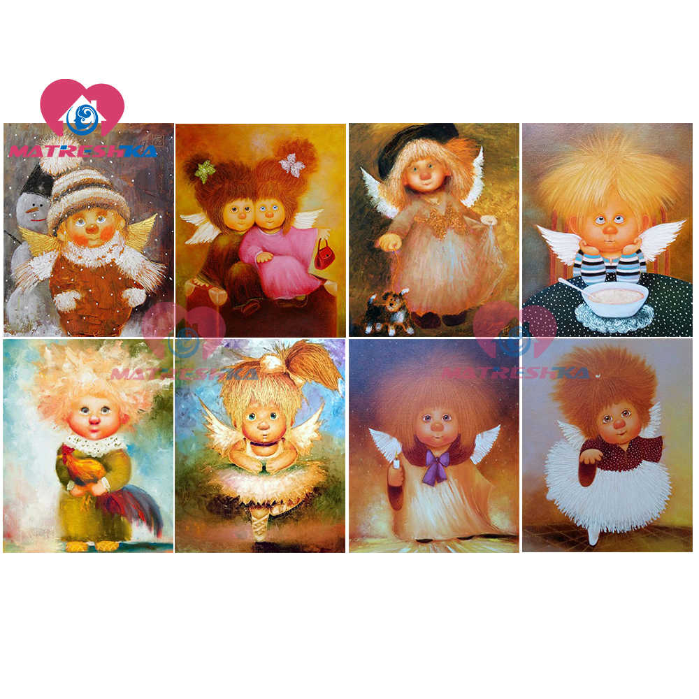 DIY diamond painting angels diy full diamond embroidery paintings rhinestones diamond embroidery cartoon girl diamond painting