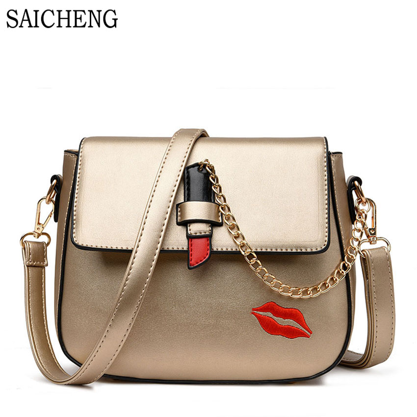 SAICHENG Brand 2017 New Fashion Saddle Women Messenger Bags High Quality Chains Woman Bag Ladies PU Leather Lady Crossbody Bag