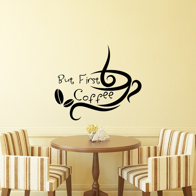 Kitchen Wall Decal Quotes But First Coffee Cafe Shop Wall Stickers ...