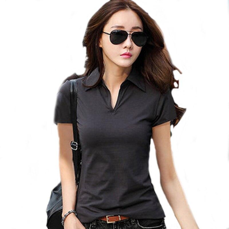 Summer Polo Shirt Women 2019 New Short Sleeve Solid Slim Polos Mujer Shirts  Tops Fashion womens Polo shirts Femme 5 Colors|Polo Shirts| - AliExpress