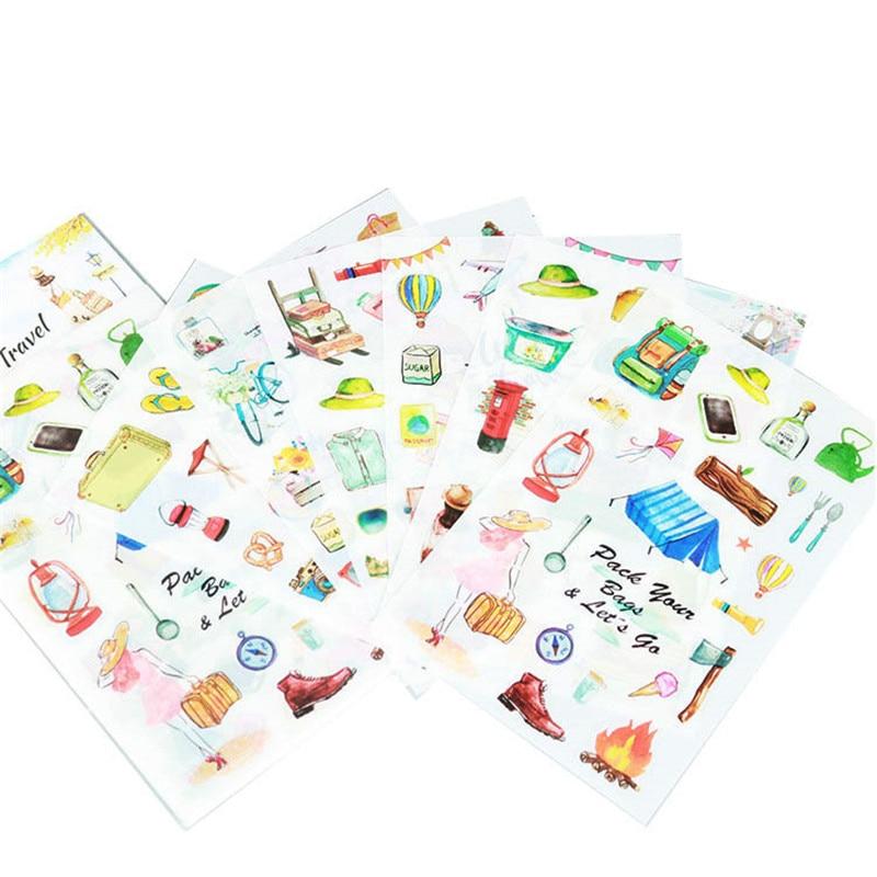 6Pcs/Set Kawaii World Travel Decorative Washi Stickers Scrapbooking Stick Label Diary Stationery Album Stickers Free Shipping