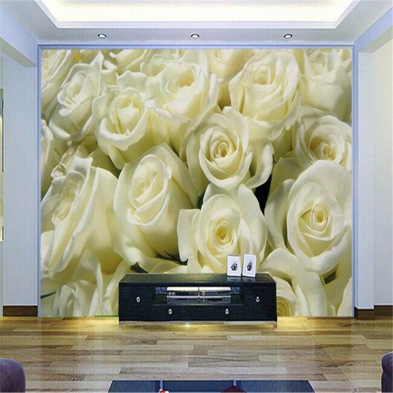 Modern painting for living room full screen yellow roses for Yellow wallpaper home decor