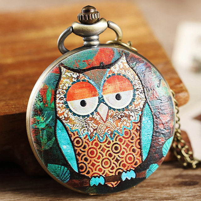 9 Design Owl Pocket Watch Fob Chain Necklace Pendant Mens Flip Case Watch Hour C