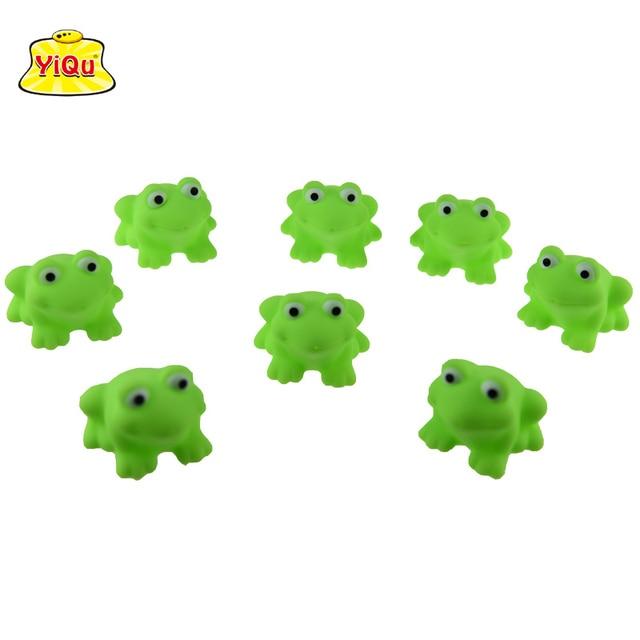 6pcs/lot children bath Toys Soft vinyl rubber toys for babies Mesh bag package vinyl frog toys Water-Spray frog shape toys