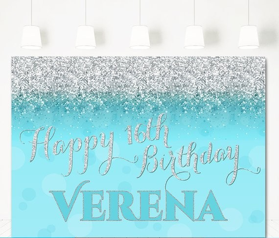 Custom Silver Aqua Teal Glitter Birthday Baby Bridal Shower background Computer print party photo backdrop|Background| |  - title=