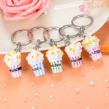2019 New Personality Creative Gift Simulation Food Popcorn Keychain Keyring Pendant Small Gift Accessories Wholesale 60pcs/lot(China)