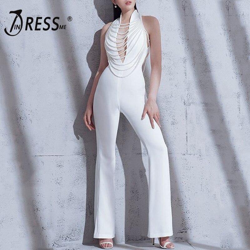 INDRESSME 2019 New Summer Women   Jumpsuit   Romper Elegant White Pearl Halter Sleeveless Deep V   Jumpsuit   Celebrity Party Bodysuit