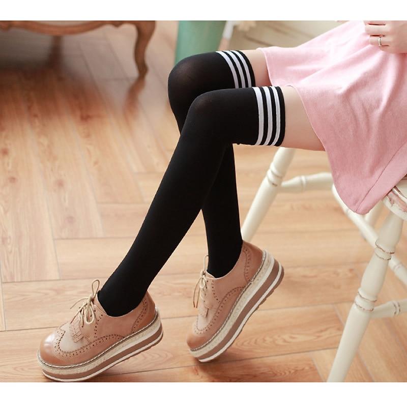 Nya sammet nylon kvinnor över knästrumpor solida ränder svarta - Underkläder - Foto 2