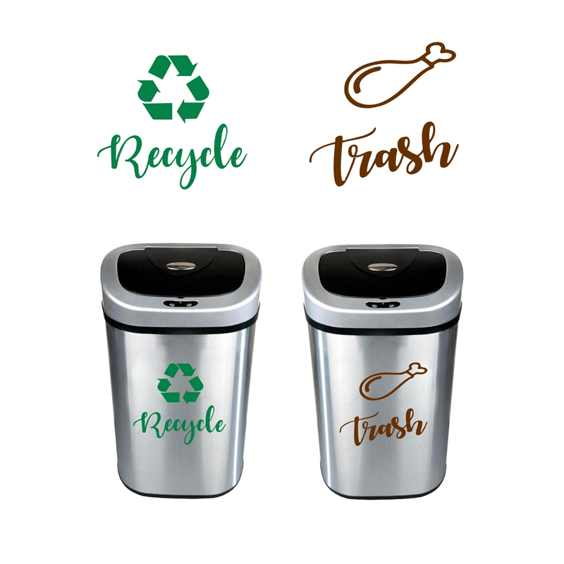 US $1.97 30% OFF|Recycle and Trash Sign Decals , Trash Can Green Recycle  Vinyl Sticker Deocr , Trash Logo Decal kitchen Garbage Bin Art Decor-in  Wall ...