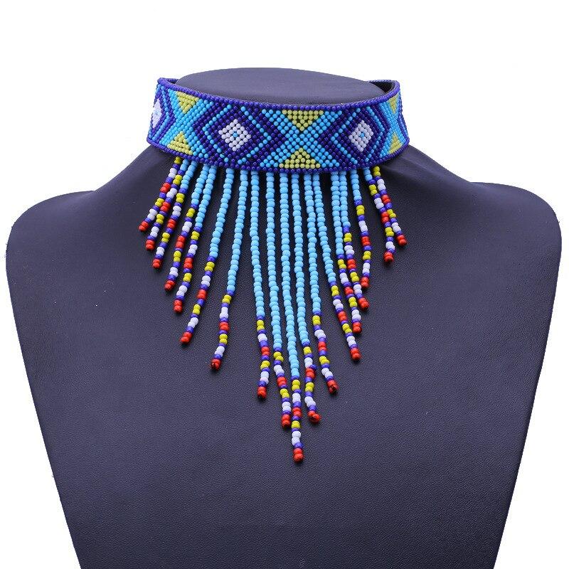 Tribal Ball Chain Collar Leaves Women Bib Mini Necklace Pendant Tassel Jewelry