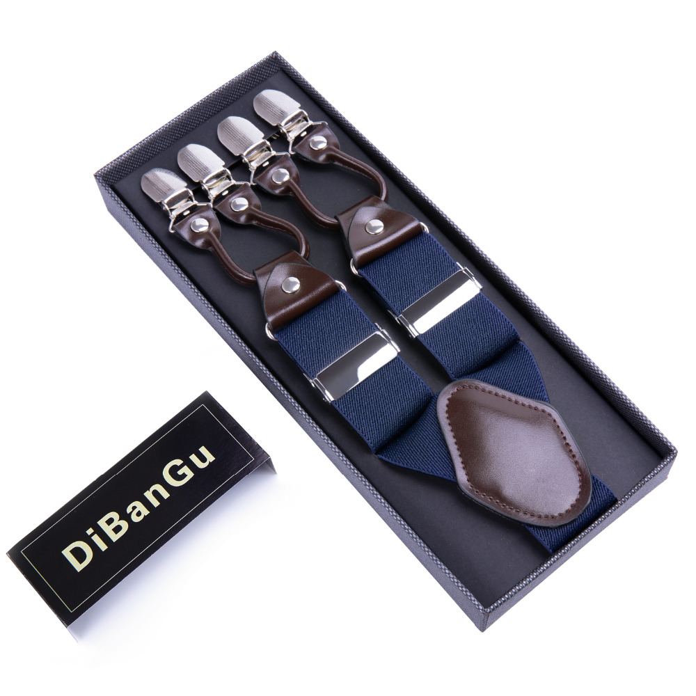 DiBanGu Men's Suspenders 6 Clips Braces Leather Suspensor Adjustable Belt Strap Vintage Mens Suspender For Wedding Party JZ-012