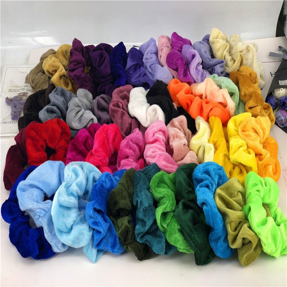 46Pcs/lot Scrunchie Elastic Hair Ties Soft Chiffon Velvet Satin Floral Grip Loop Holder Stretchy Hair Band Hair Accessories 9336