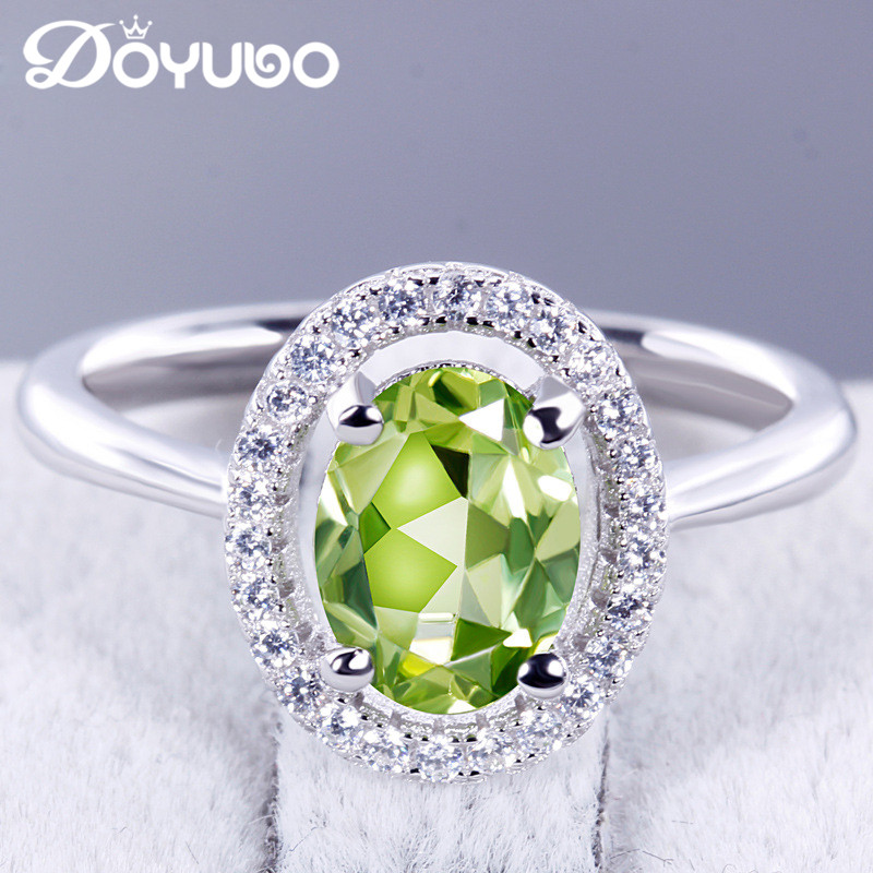 DOYUBO Women Real Silver Luxury Oval Olivine Stone Wedding Ring Antique Female Fashion Semi Precious Stone